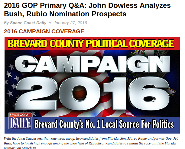 2016 GOP Primary Q A John Dowless Analyzes Bush Rubio Nomination Prospects